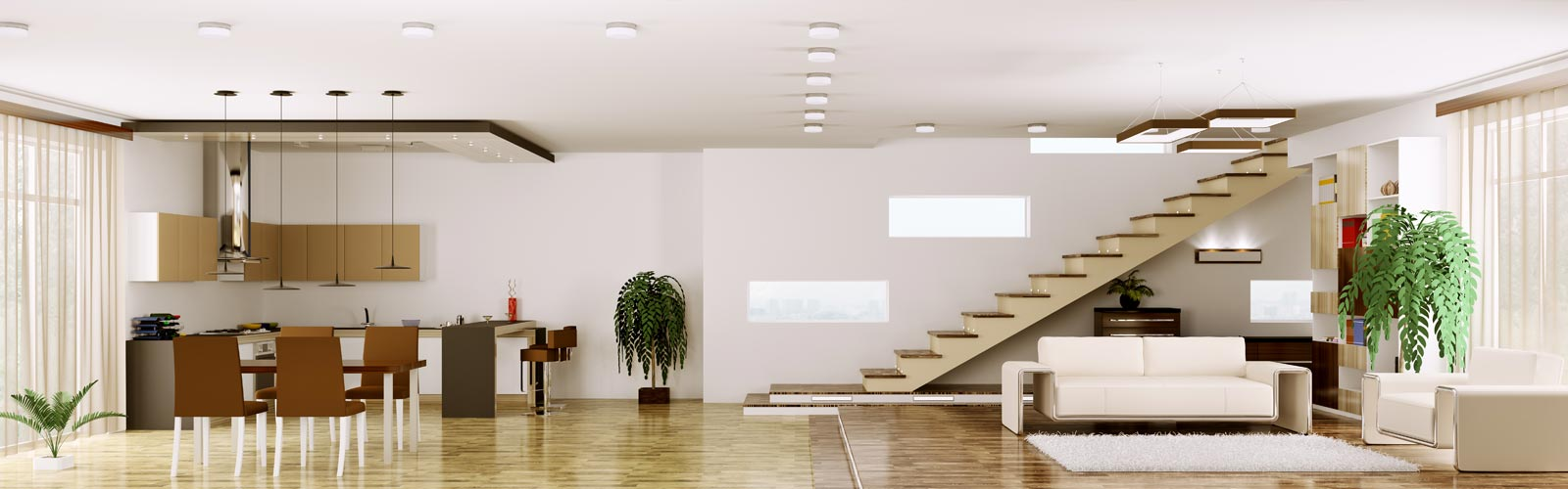 Modernes Wohn-Ess-Zimmer